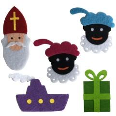 Setje van 5 vilten figuurtjes, Sinterklaasje bonne bonne