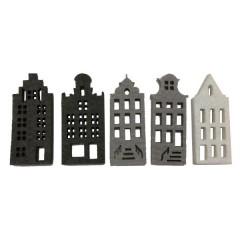 NIEUW 2020; Setje vilten grijs-witte Amsterdamse grachtenhuisjes. 7cm