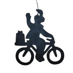 Houten hanger, Piet op fiets, 10cm