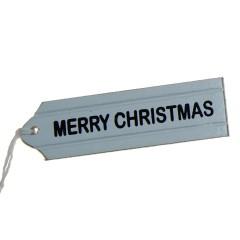 Houten label; Merry Christmas, 9cm
