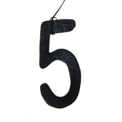 Weer op voorraad! Houten hanger, Cijfer 5, 8cm