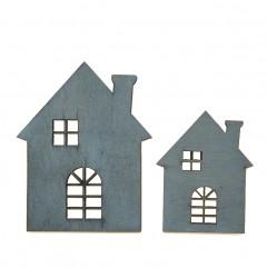 Houten huisjes Naturel, 5cm en 7cm